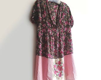 Roses Patchwork Dress, Upcycled, Pink, Grey, Pinstripes, Floral, Pretty Dress, Size Large, Rustic, Flowers