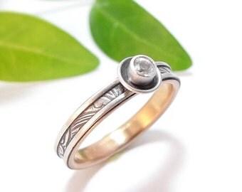 Silver Engagement Ring Diamond Engagement Ring Rose Gold Wedding Band Moissanite, White Sapphire, or Diamond Ring Womens Wedding Band
