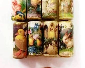 Easter Beads -  Handmade Paper Tube Beads - Chicks - Rabbit- Chicken  - Set/8 -  PB31 - #B
