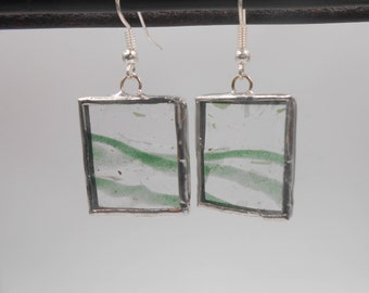 Green Confetti Stained Glass Earrings one of a kind