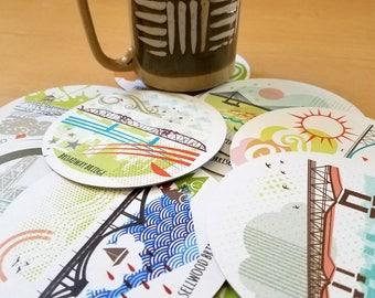 Portland Oregon Bridges Coasters Set of Twelve