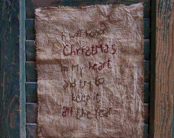 Christmas Sampler, Primitive Sampler, Reproduction Sampler, Farmhouse Decor, Holiday Decor, I will honor Christmas in my heart - CIJ Sale