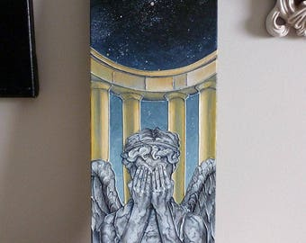 Weeping Angel Original Painting 6x16 Doctor Who Fan Art