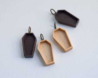 Coffin blank pendant tray charm - Walnut or Maple - 18 x 33 mm cavity - Brass finish eye and ring bail - (P72-X) - Set of TWO