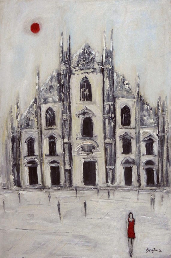 Duomo Milan Italy Modern fine Art Print Giclee from Original Oil Painting by BenWill