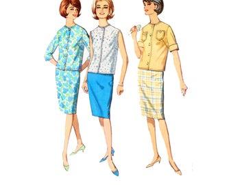 60s Pencil Skirt pattern Two Piece Dress pattern Slim Skirt pattern vintage 40-32-42 Waist 32 Simplicity 4885