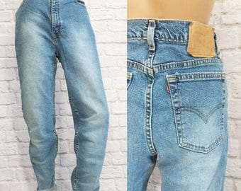 Vintage Levi's 512 Jeans High Waist 90s Slim Fit Tapered Leg Womens 12 Long Distressed Faded
