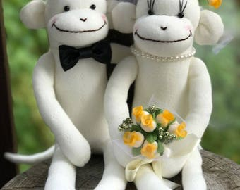 MADE-TO-ORDER Wedding Sock Monkey Doll(Yellow) - Wedding Dolls,Wedding Gift, Wedding Decor