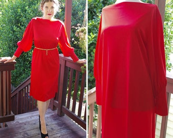 RUBY 1970's does 30's Vintage Bright Red Tunic Dress with Long Puffed Sleeves // size Medium