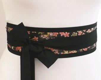 Black Obi belt sash with lovely butterfly and cherry blossom flower print fabric  -  japan japanese yukata kimono wrap belt with long ties