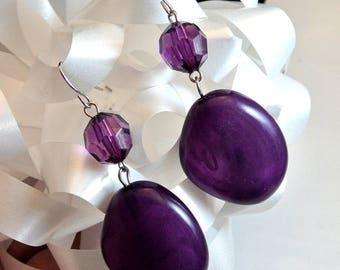 Purple Large Bead Dangle Earrings Two Bead Earrings Vintage Earrings Costume Jewelry Glass Bead Earrings Free Shipping in USA