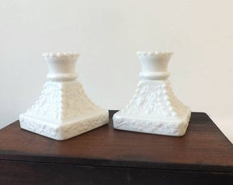 Pair Vintage Westmoreland Milk Glass Candlesticks, Paneled Grape Square Beaded Candle Holders, Cottage Chic Home Decor