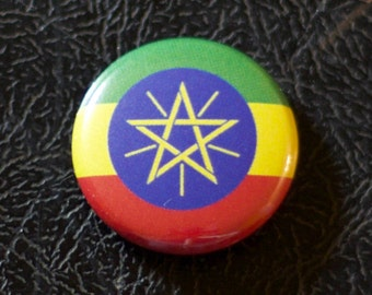 "1"" Ethiopia flag button, country, pin, badge, pinback, Made in USA"