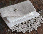 Small Linen Needle Book - crocheted detail