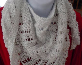Sparkly Triangle Scarf, Lacy Light White