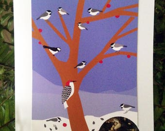 greeting card chickadees in tree with bird seed  note card