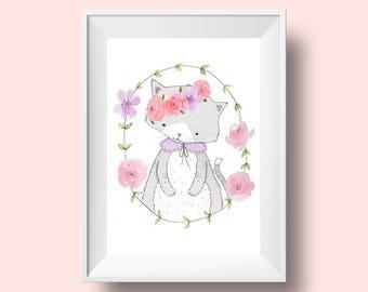 Little Miss Kitten - Art Print 8 x 10, 8.5 x 11