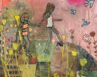 Forever Friends  - Original Encaustic Painting