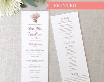 Printed Vineyard Wedding Programs, Grapes, Wine Themed, Winery, Wine Country, Grapevines, California Wine Country Wedding Ceremony Program