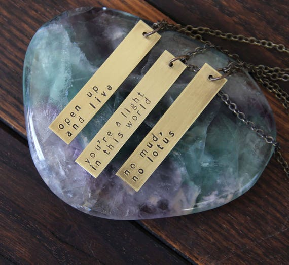 wide bar necklace . custom brass hand stamped necklace
