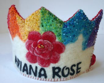 Rainbow Birthday Crown : Felted Wool Crown (Custom Made Crown with Rose and Name) Flower Crown, Natural Birthday