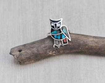 Vintage Inlaid Owl Ring - sterling silver with turquoise moonstone coral inlay black resin - Size 6.25