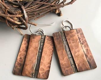 Cooper and Silver Filled Metalwork Earrings, Artisan Earrings, Rectangular Earrings, Hammered Earrings, Etsy, Etsy Jewelry
