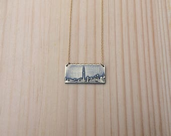Toronto Ontario Canada skyline necklace | Toronto skyline pendant | etched copper pendant | handmade gift | jewelry for her