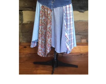 Upcycle Womens Boho Chic Denim Skirt Hippie Patchwork Feastival Clothing Gypsy Skirt  Upcycled Clothes Repurposed Fashion Plus Size