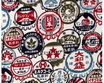 HALF YARD Westex - Japanese Bottle Caps on WHITE - Japanese Import