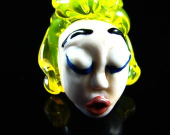 The Blond Haired Lady...Handmade Lampwork Focal Head Bead...Ladies of the Flame.. SRA