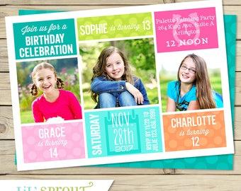 Sibling Triple Birthday Invitation - Three Birthday Invite for Sisters Friends Cousins - Choose Your Colors - DIY Printable Invite PDF JPG