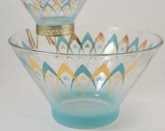 Vintage Atomic Mid Century Modern Chip Dip Glass Bowl Set Turquoise Gold Retro