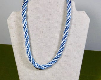 Two Blues Kumihimo 19 inch Satin Cord Necklace