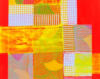 Modern Aerial Map Abstraction Original Painting on Board Detroit 2