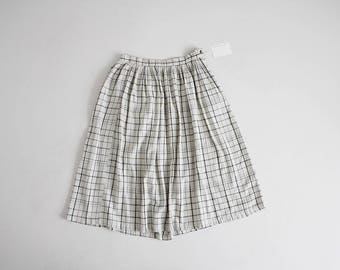 beige plaid skirt | muslin cotton skirt | full plaid skirt