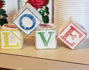 upcycled recycled,shabby chic decor,Vintage ABC blocks,wood love blocks,wooden love blocks,valentines day,chic beach decor,cottage home,love