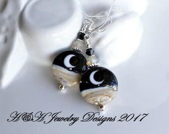 Moon Lampwork Earrings, Night Sky Black Earrings, Moon Glass Bead Earrings, Black Beige Lampwork Earrings, Silver Earrings, Beach Earrings