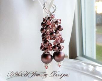 Brown Pearl Earrings, Bridal Party Brown Pink Cluster Earrings, Long Pearl Earrings, Brown Pink Wedding Jewelry, Velvet Brown Swarovski