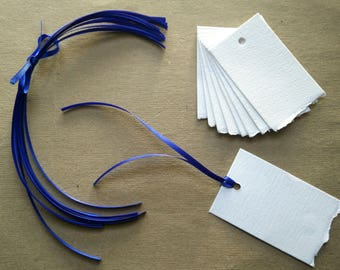 10 Blank Gift Tags - Cotton Rag | Deckled Edge | Mixed media paper | White with blue satin ribbon