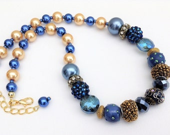 Gold and Blue Necklace, Chunky Necklace, Blue Beaded Necklace, Gift For Her, Single Strand Necklace, Blue Jewelry, Blue Chunky Necklace