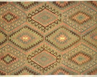 Kilim Rug 5.5' x 11.5' Coral Mint Brown Diamond Tribal Wool Vintage