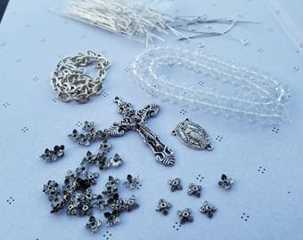 Diy Silver plated and White Rosary kit