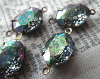 Crazy Vitrail Bubble Plating or Stained Glass 14x10mm Oval Vintage Glass Brass Ox Connectors Two Loops 4 Pcs