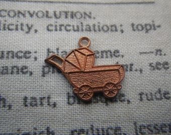 Retro Pram or Baby Carriage Vintage Cast Brass Charm Red Patina 6 Pcs