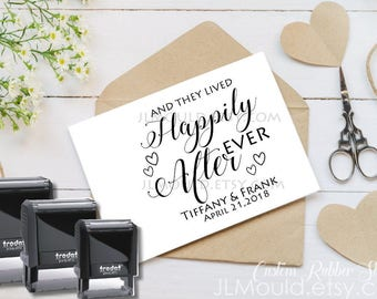 1011 SELF INKING Custom Personalized Rubber Stamp JLMould Happily Ever After True Love Save the Date Wedding Invitations Save the Date
