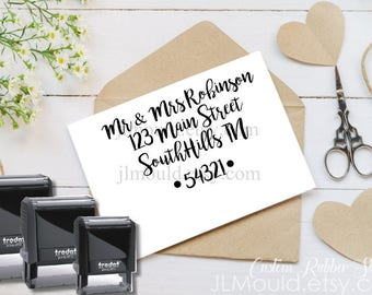 1015 Self Inking JLMould Modern Family Custom Personalized Rubber Stamp Return Address Wedding Stamper Choose Ink Color calligraphy