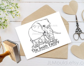 0225 JLMould Custom Personalized Elephant Circus Zoo Animal Rubber Stamp with your Logo or Website Branding