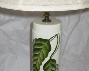 Porcelain Leaf Lamp  Hand Painted Deco Leaves Signed by Mimi  Classic Pillar Table Lamp