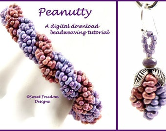 Peanut Beadweaving Tutorial, Bracelet Pattern, Peanut Bead Pattern, Peanut Tutorial, Earring Design, .pdf Instructions for Personal Use